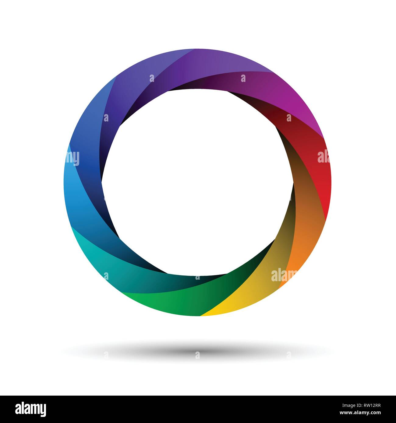 Colorful camera shutter aperture. Abstract shape, infinite loop icon. Infographic example. Multicolor ring isolated on white background. - Stock Image