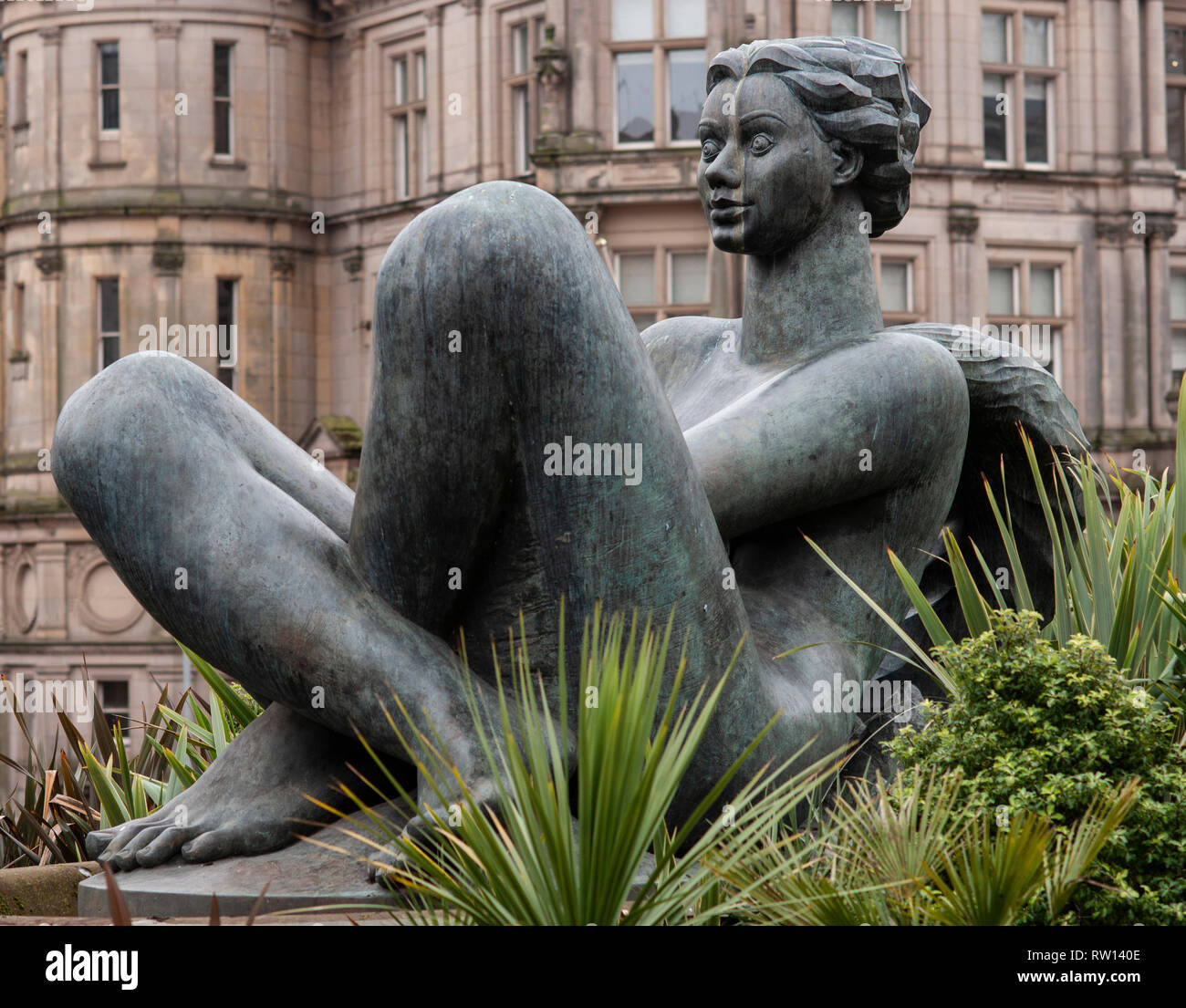 View of Victoria Square, Birmingham. Elements of public art called The River designed by Dhruva Mistry - Stock Image