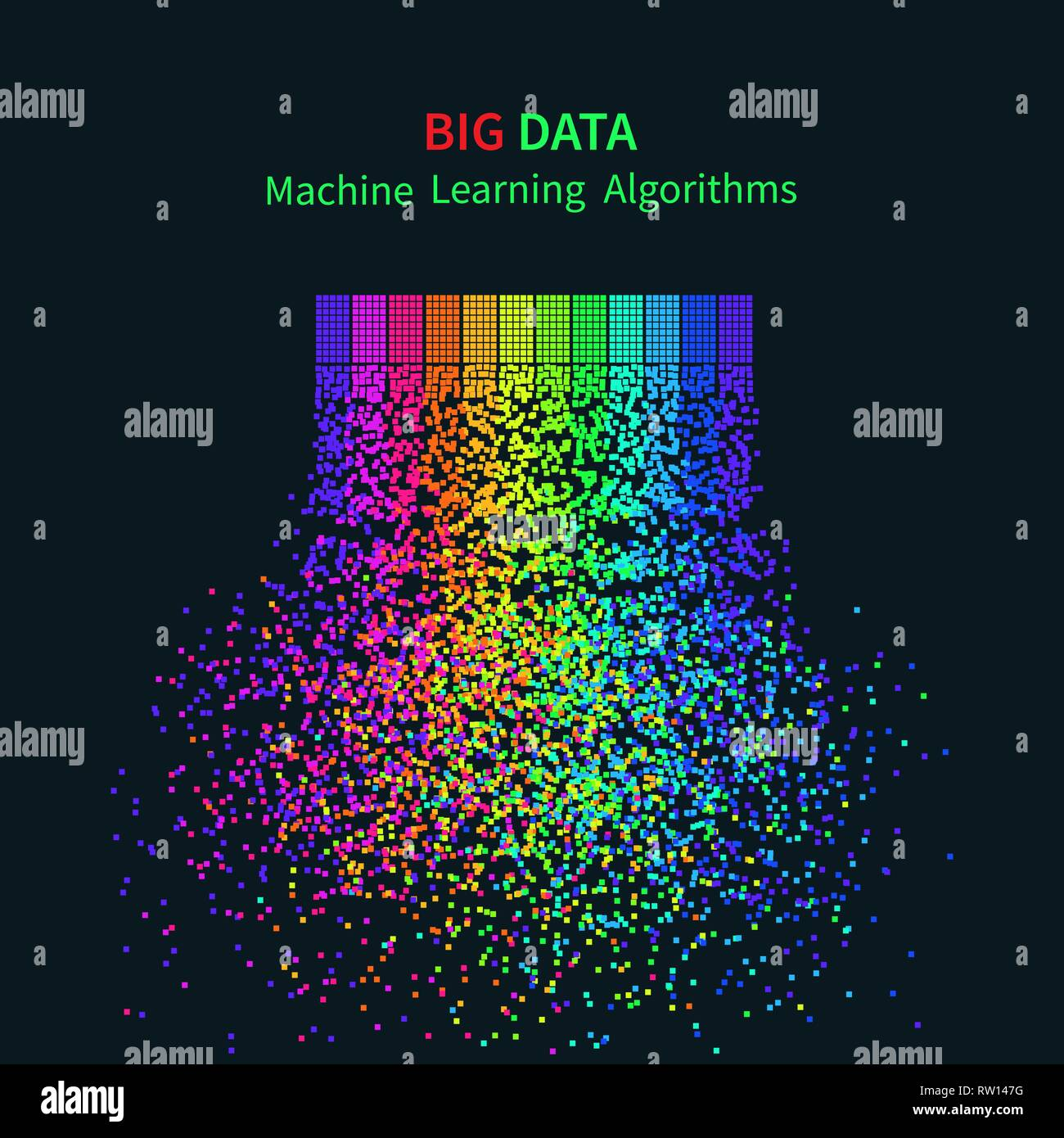 BIG DATA Machine Learning Algorithms. Analysis of Information Minimalistic Infographics Design. Science/Technology Background. Vector Illustration. - Stock Vector