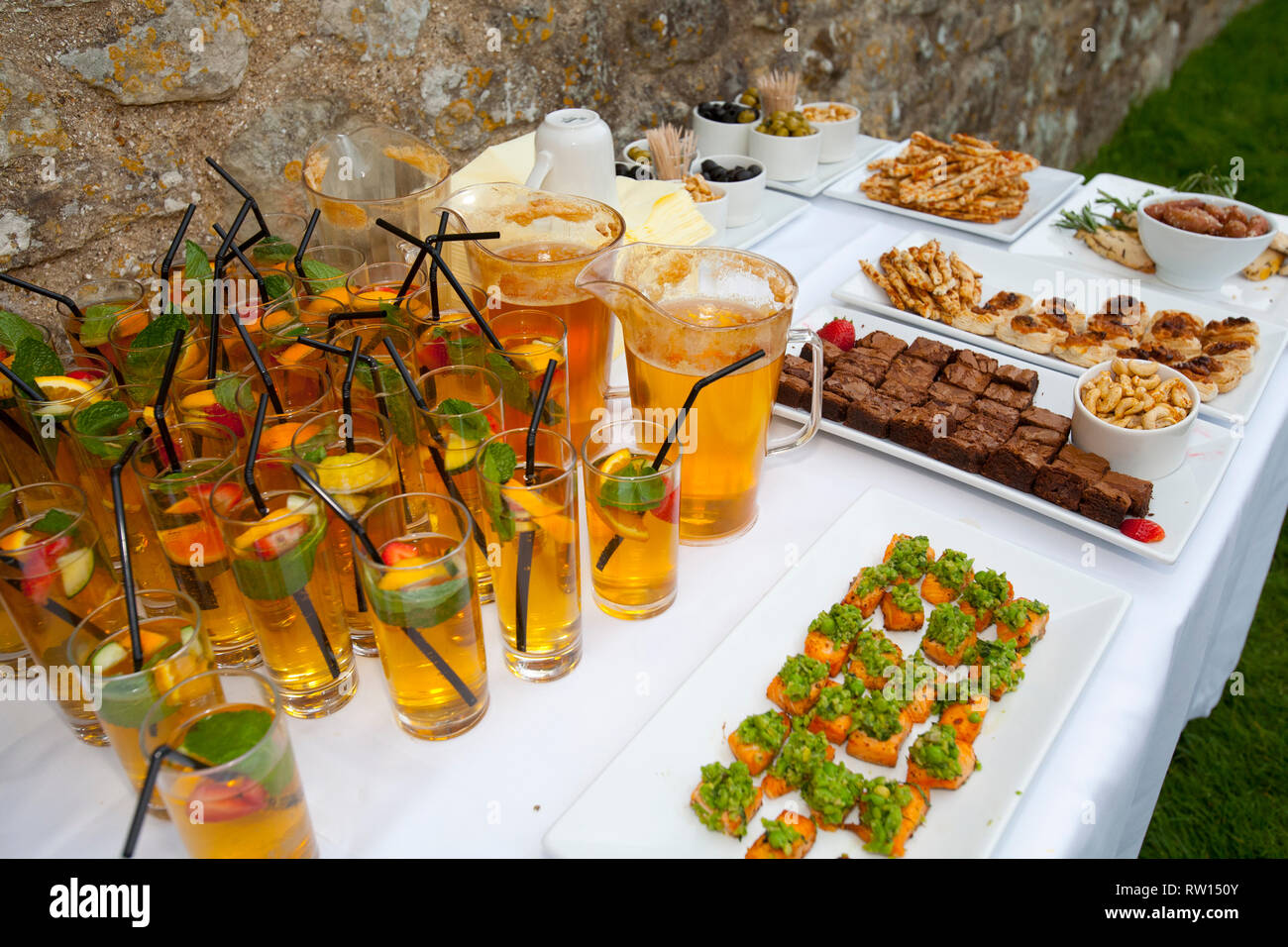 Tourism Cocktail Party, Garden, English Heritage, Carisbrook Castle, England, Isle of Wight - Stock Image