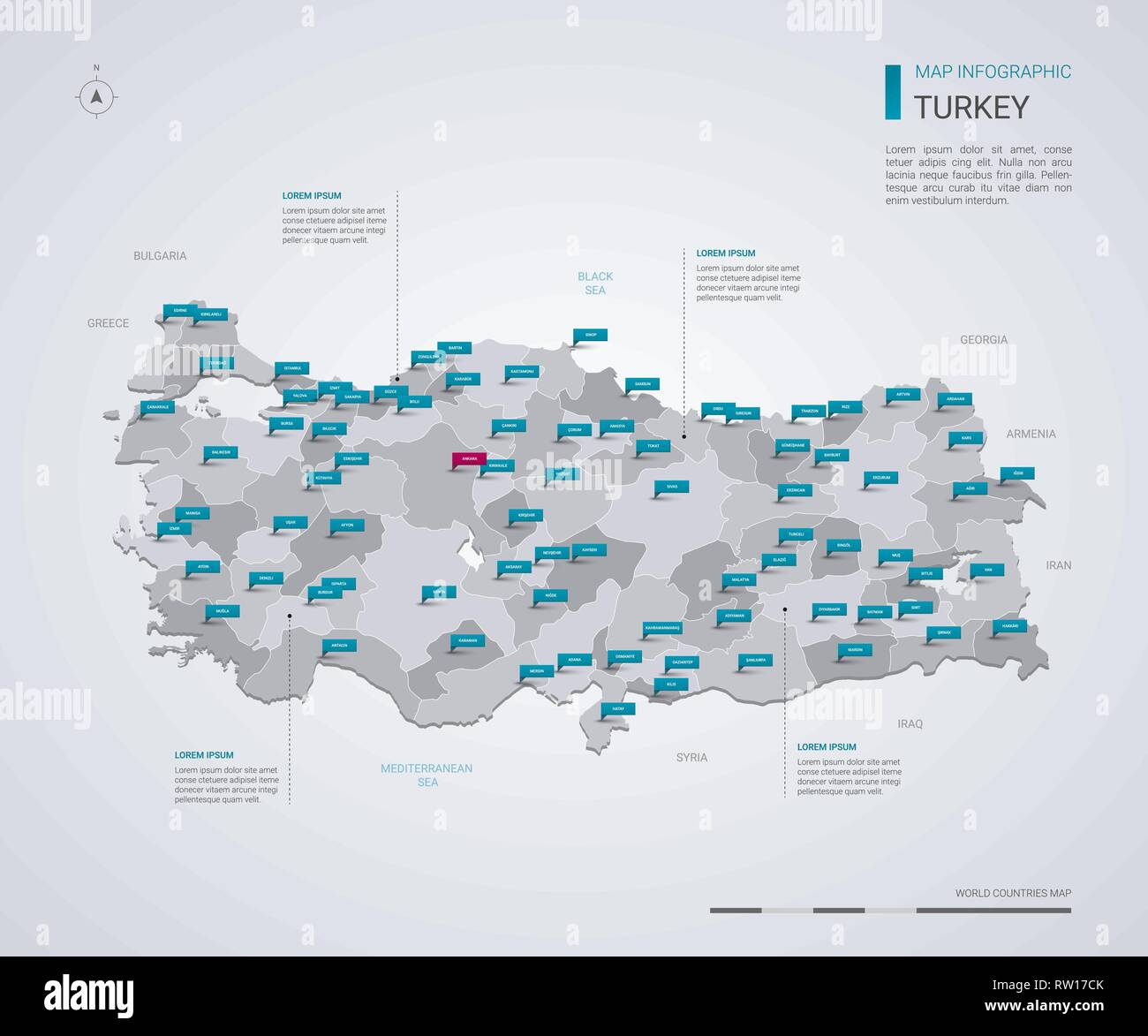 Turkey vector map with infographic elements, pointer marks. Editable ...