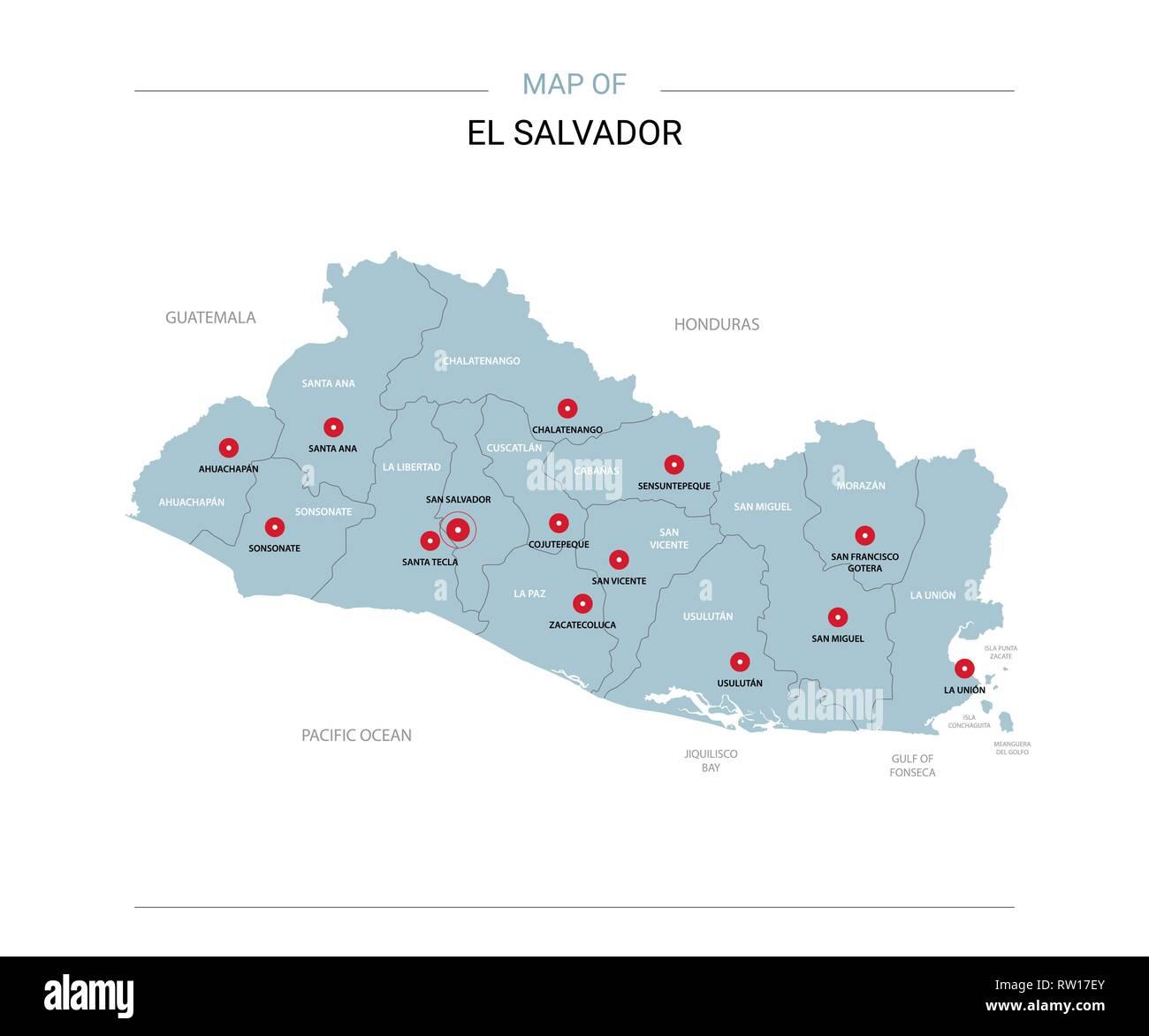 El Salvador vector map. Editable template with regions ... on map of isla margarita, map of campinas, map of san pedro de atacama, map of bissau, map of guatemala, map of regions of brazil, map of culiacan, map of south of the border, map of san pedro de macoris, map of asunción, map of ciudad del este, map of pereira, map of san pedro la laguna, map of central america, map of ilhabela, map of antarctic sound, map of sunset boulevard, map of la serena, map of honduras, map of san cristobal de las casas,