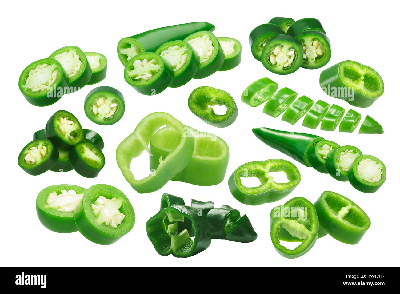Sliced Green Chiles (chile peppers round slices), different