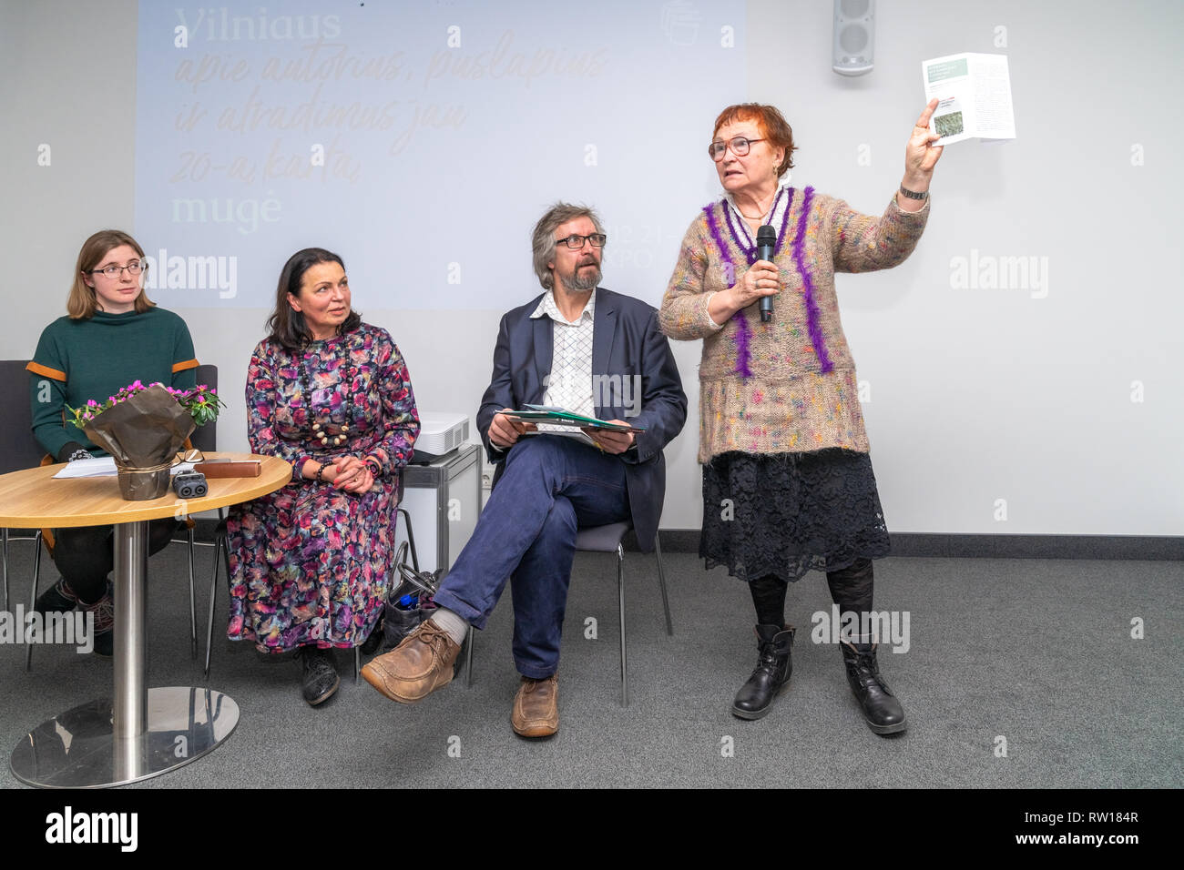 The four-day 20th International Vilnius Book Fair.Presentation of the book `My friend Lapinskas` by russian writer V. Ogarkov about Lithuanian officer - Stock Image