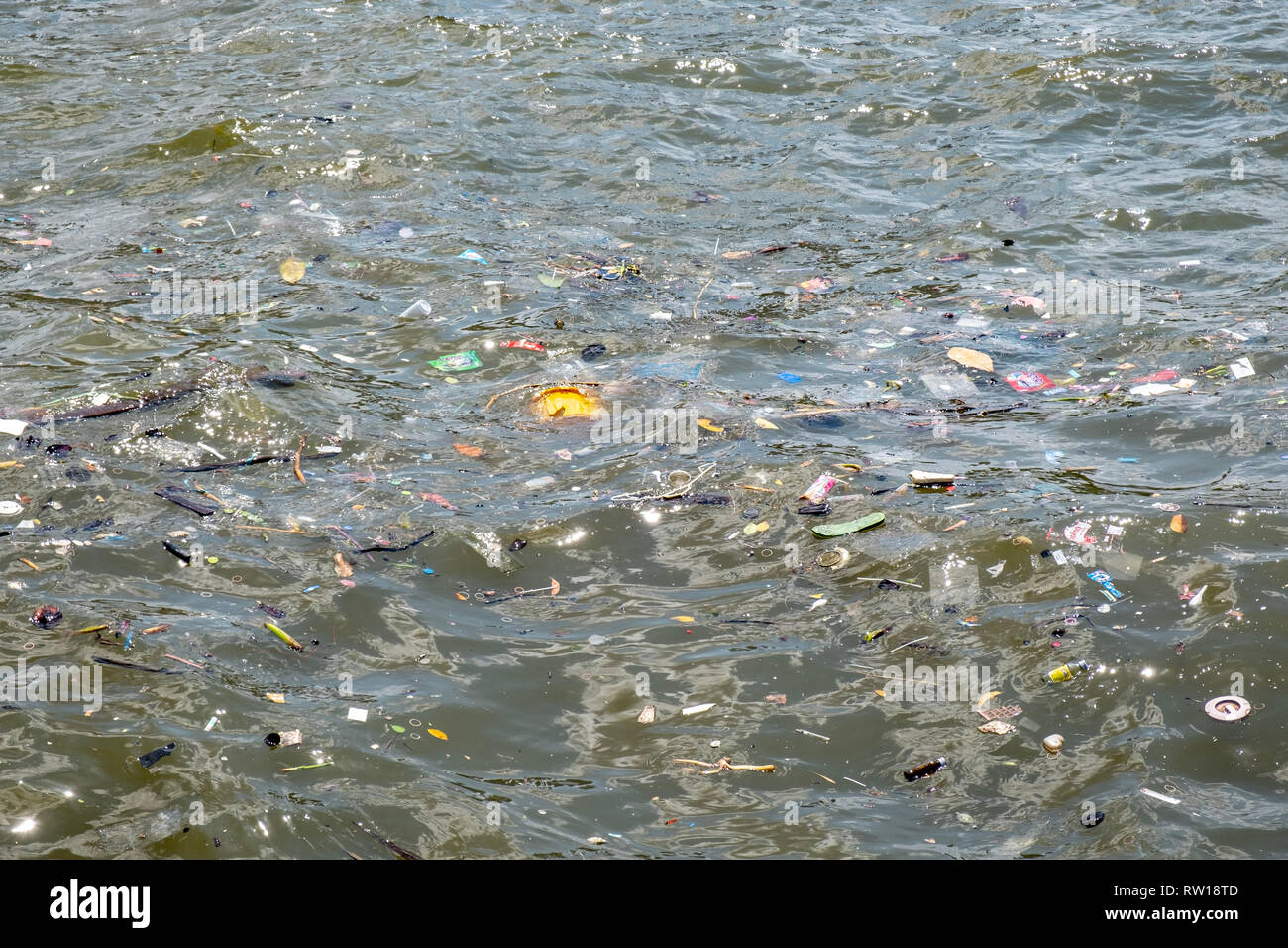 Polluted river in Thailand, Bangkok - Stock Image