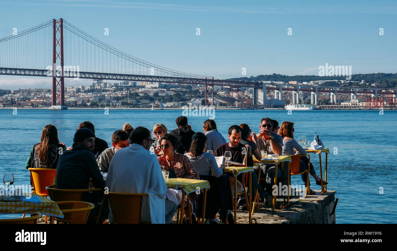 Lisbon Portugal March 2nd 2019 People Relax In Outdoor