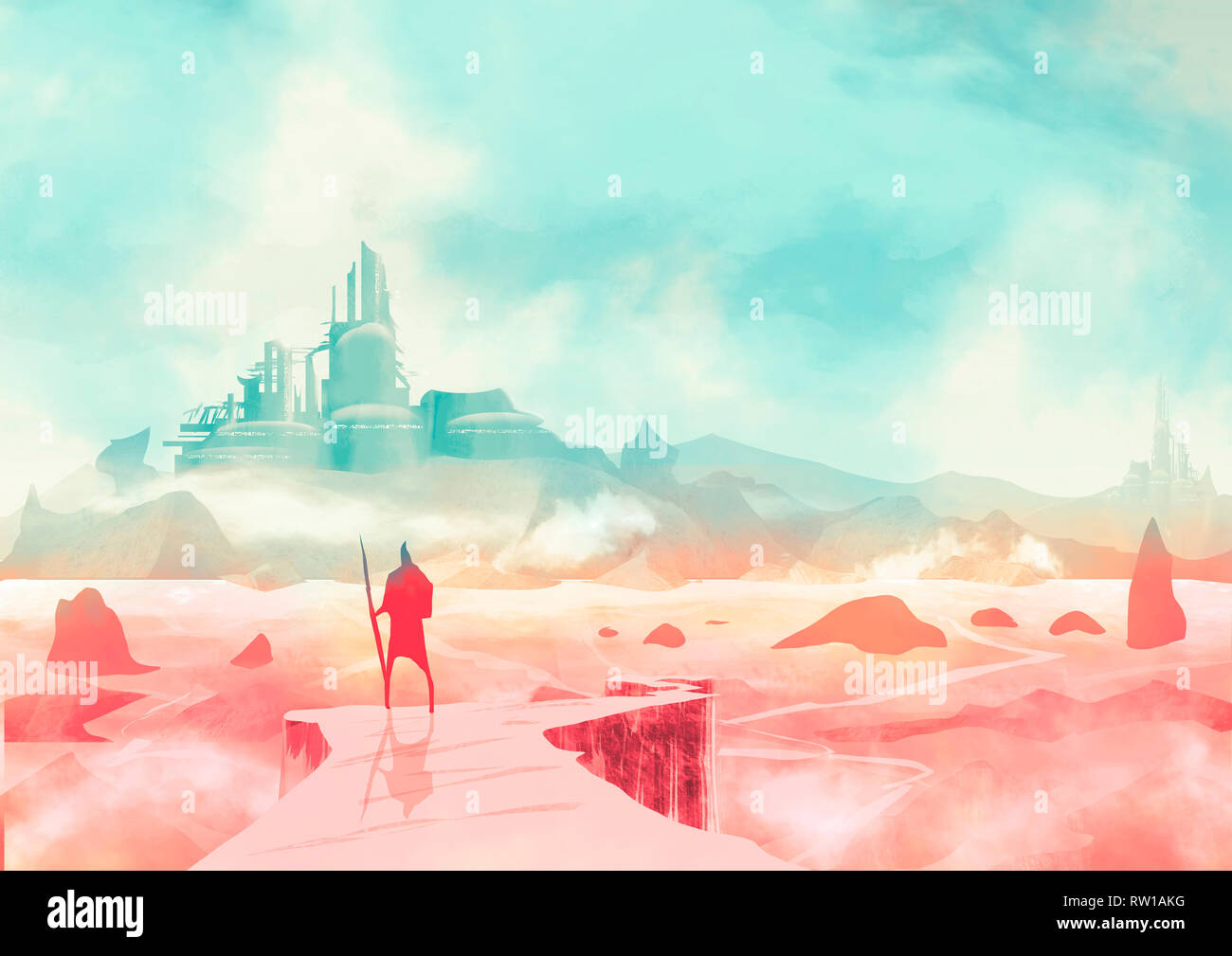 Apocalyptic landscape and post-apocalyptic fiction, a warrior with a spear looking from a cliff a city on the horizon. Sci-fi, scientific fiction - Stock Image