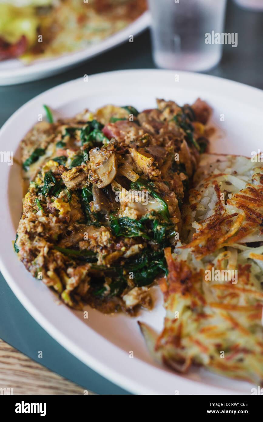 delicious mushroom and veg omelette - Stock Image