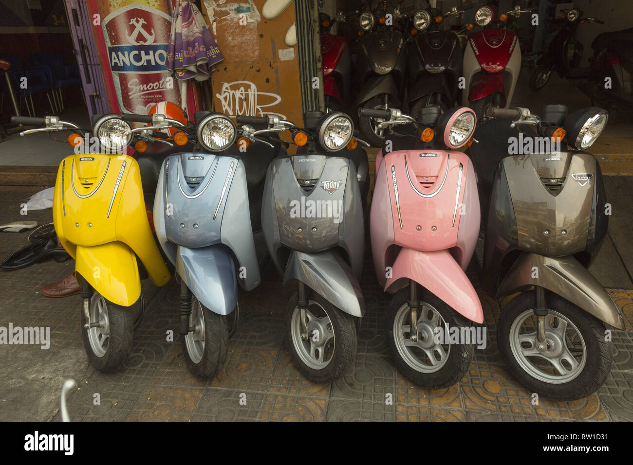 Honda scooters on sale in Phnom Penh, Cambodia - Stock Image