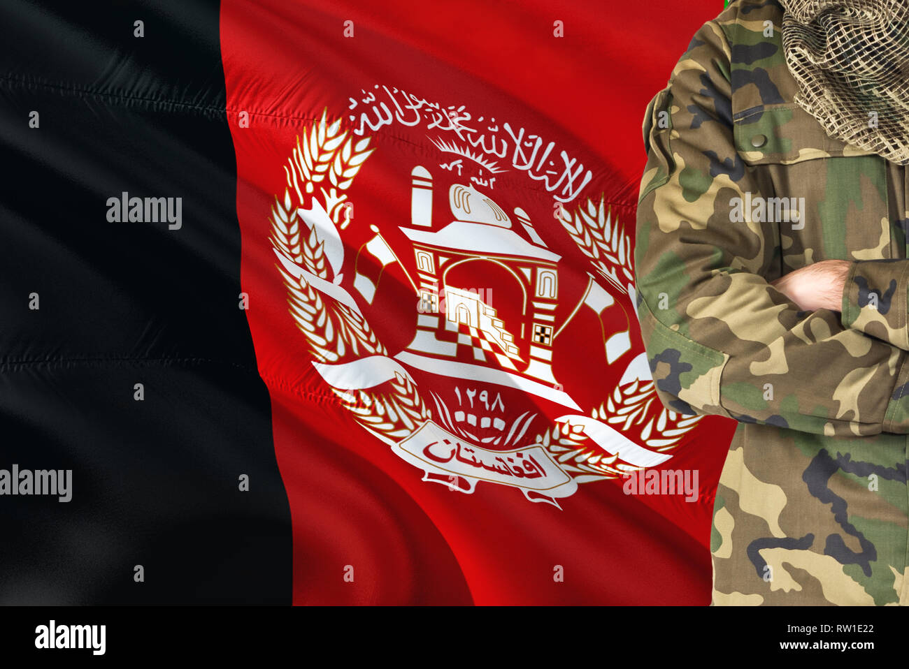 Crossed Arms Afghan Soldier With National Waving Flag On Background Afghanistan Military Theme Stock Photo Alamy