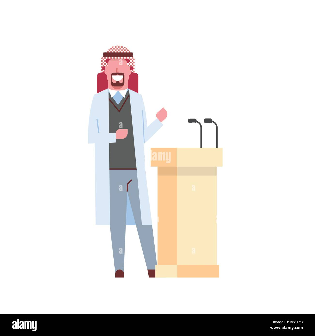 arab male doctor giving speech from tribune with microphones arabic man in keffiyeh hospital medicine worker cartoon character full length white - Stock Image