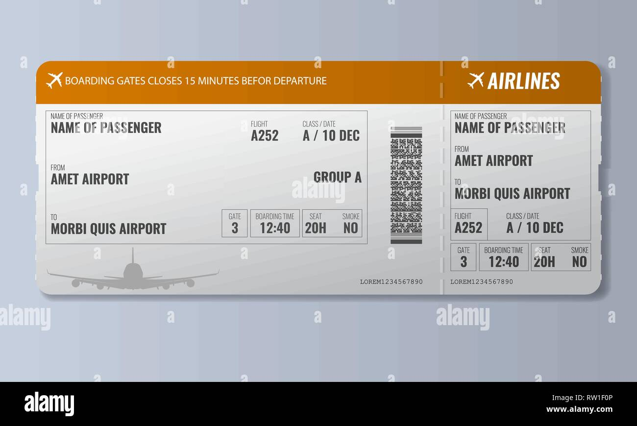 Airline boarding pass or air ticket design template