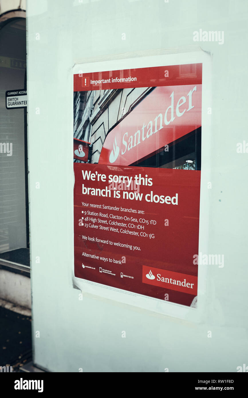 Harwich & Dovercourt, Essex, ENGLAND - March 3, 2019: A poster informing of the branch closure for Santander in Harwich High Street. - Stock Image