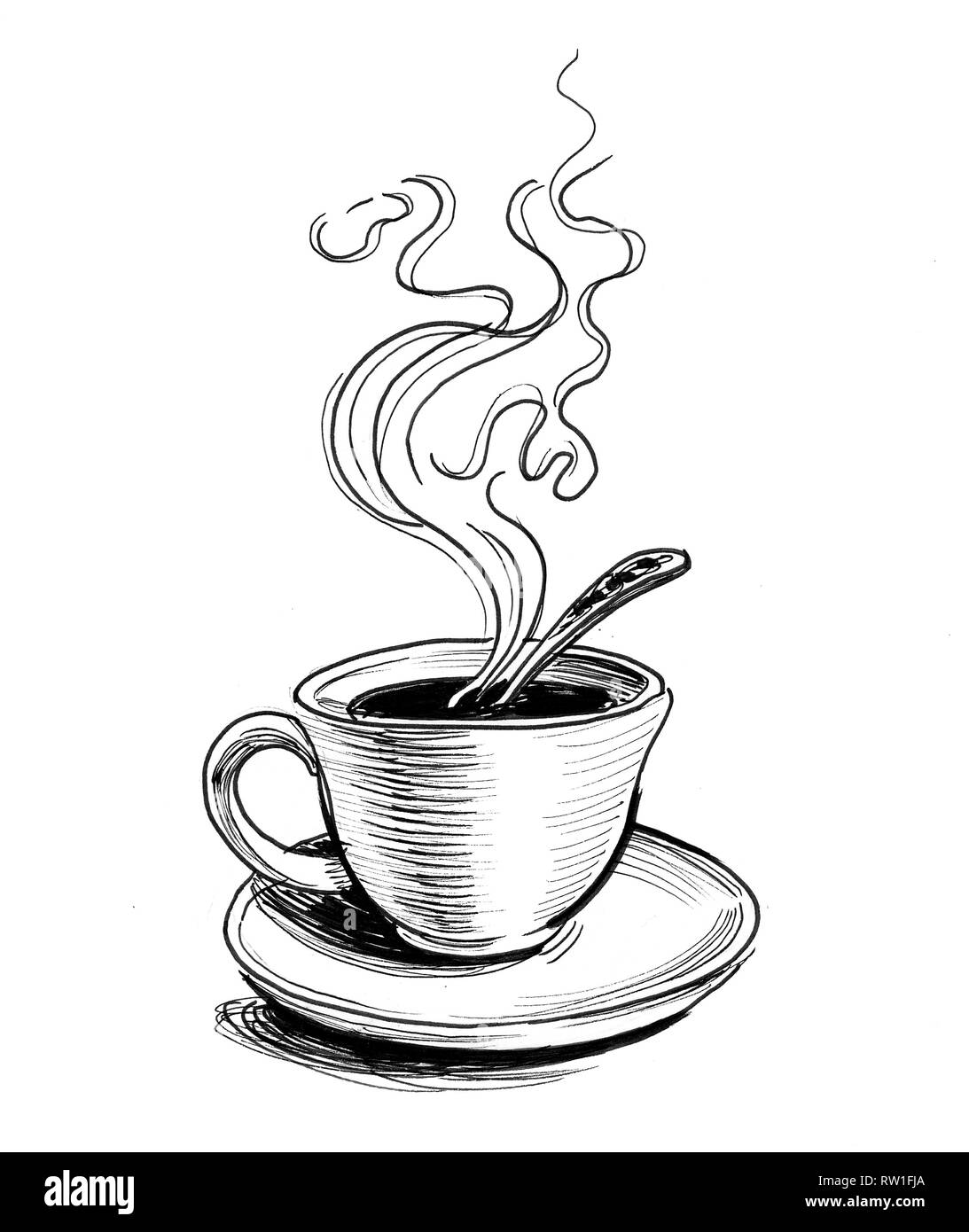 Hot Cup Of Tea On A Saucer Ink Black And White Drawing Stock Photo Alamy