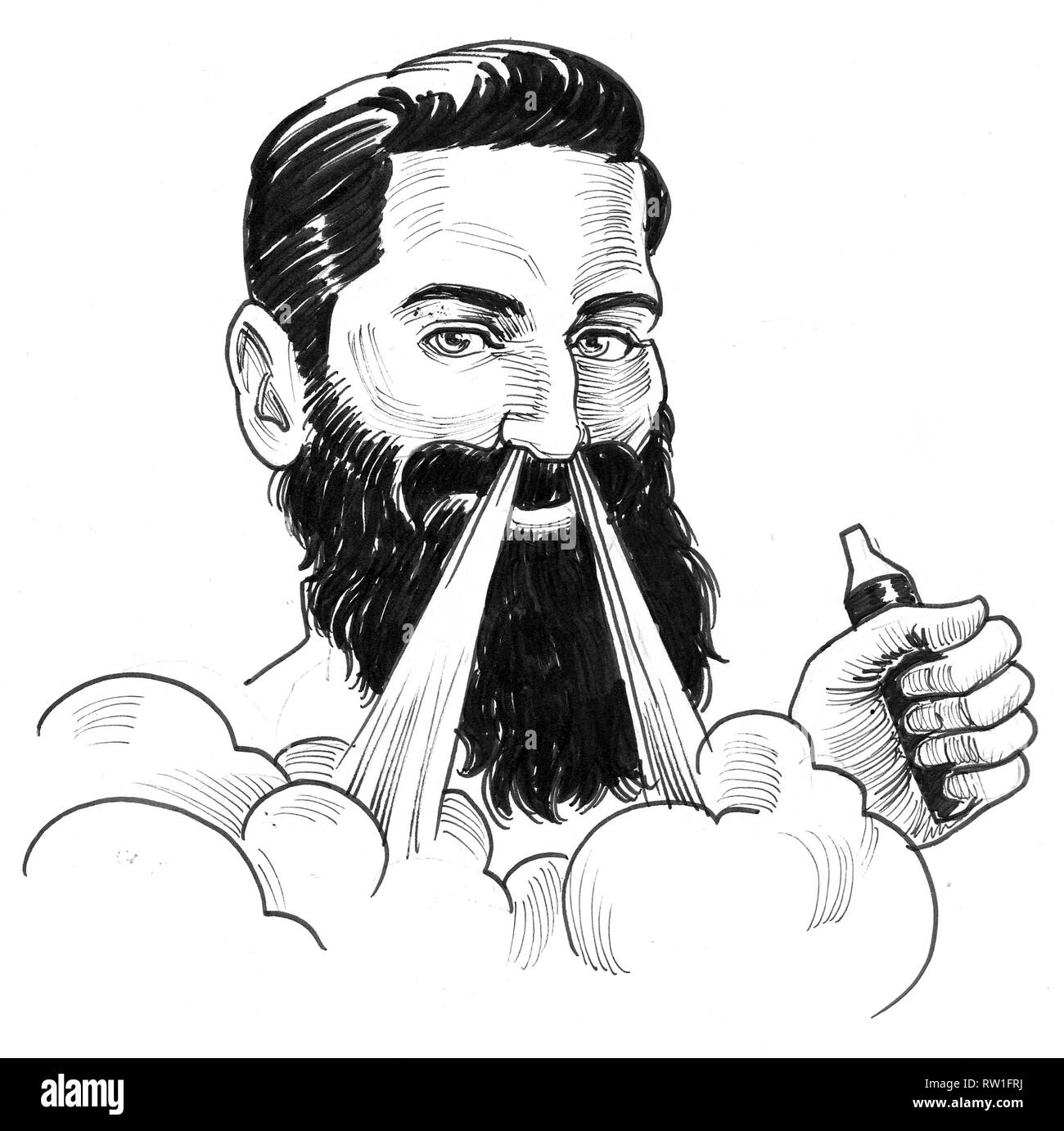 Bearded smiling man with a vaporizer. Ink black and white drawing - Stock Image