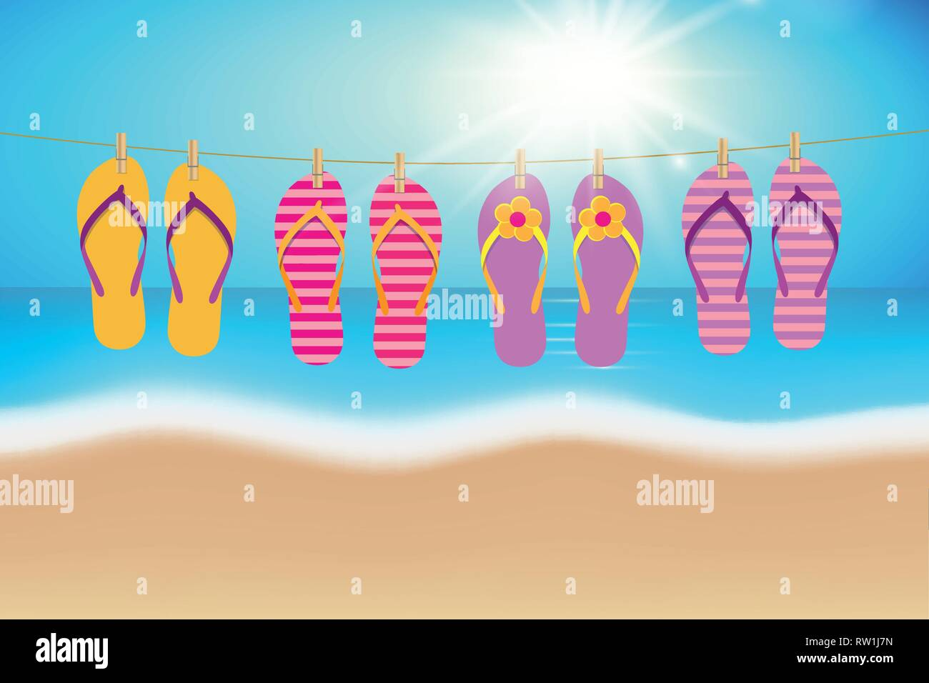 50d222113aa06 colorful flip flops hang on a rope on the beach summer vacation vector  illustration EPS10 -