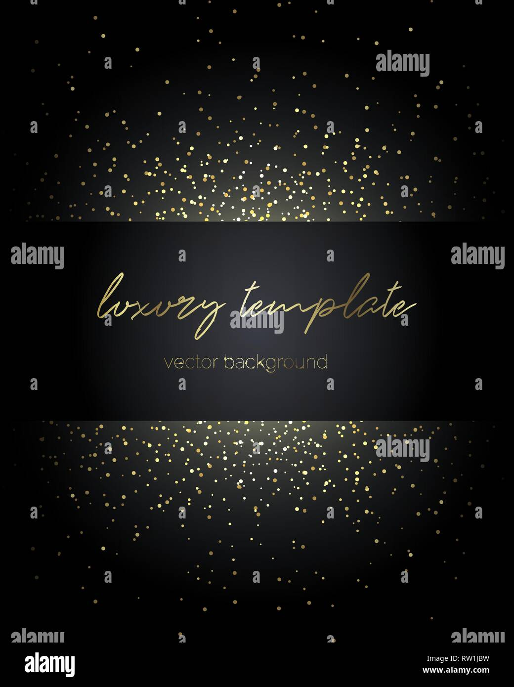 Gold particles. Premium template for text message. - Stock Image
