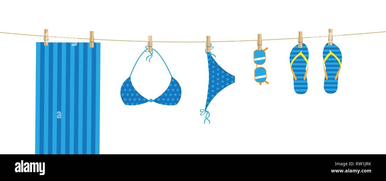 0cd4c23088d14 blue beach items hang on a linen towel bikini sunglasses and flip flops  vector illustration EPS10