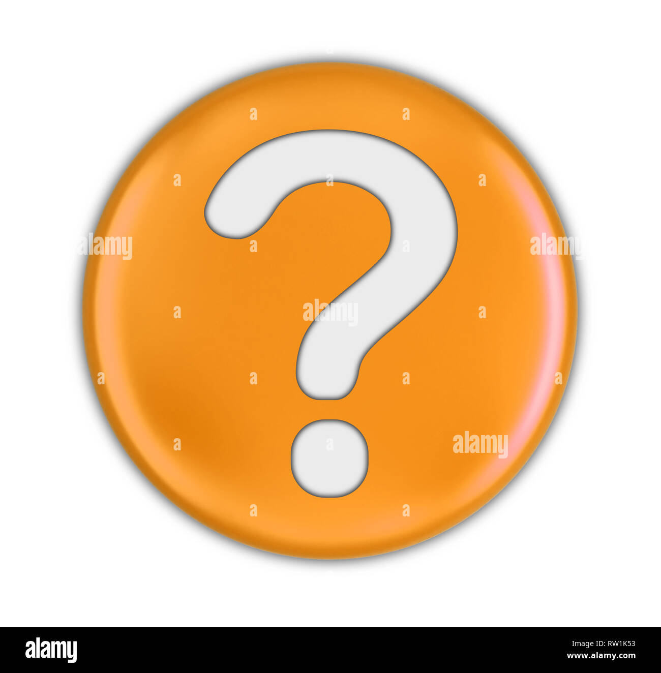 Button with Question Mark. Image with clipping path - Stock Image