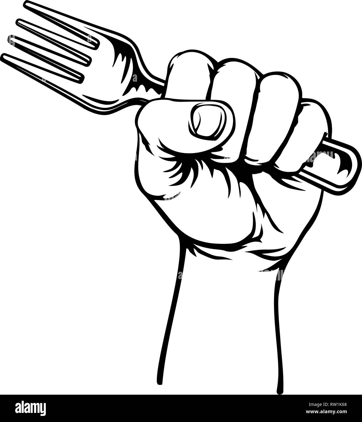 Hand Holding Fork - Stock Image