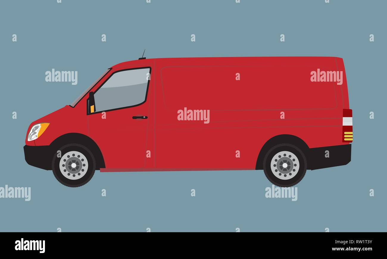 Red Cargo Business Van Mock Up For Brand And Corporate Identity
