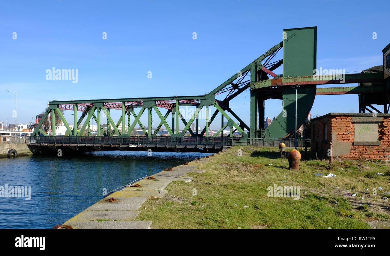 Duke Street bascule bridge, Birkenhead, UK - Stock Image