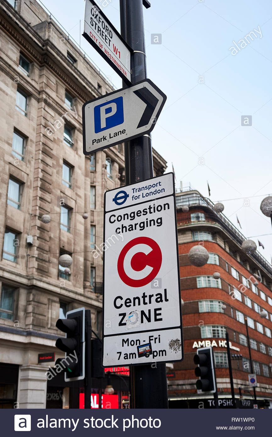 Conjestion charge sign  on Oxford Street in London - Stock Image