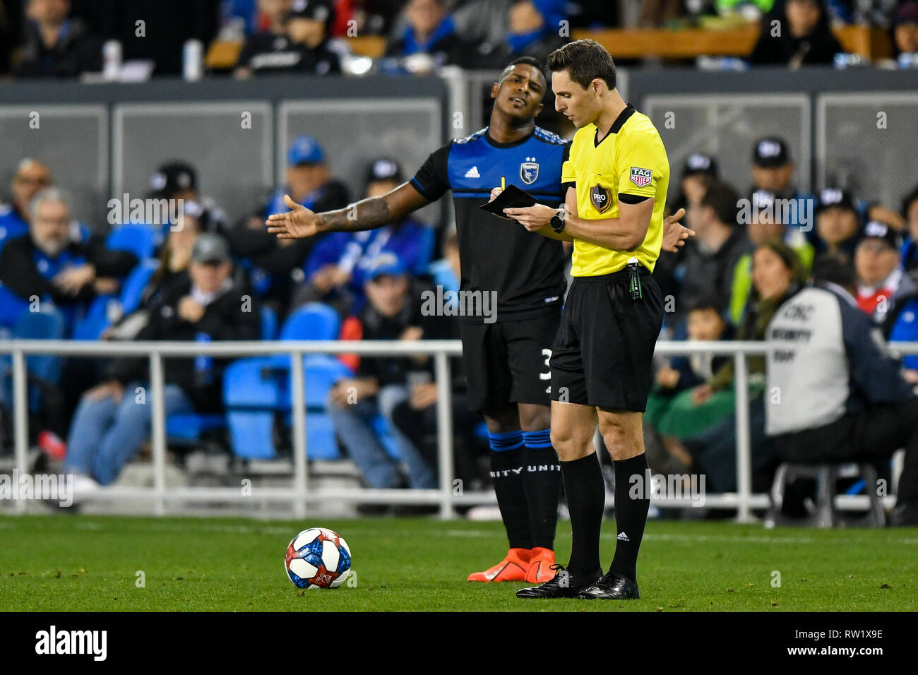 a9365c0d30f San Jose Earthquakes defender Harold Cummings (31) is not particularly  happy with an official during the MLS game between the Montreal Impact and  the San ...
