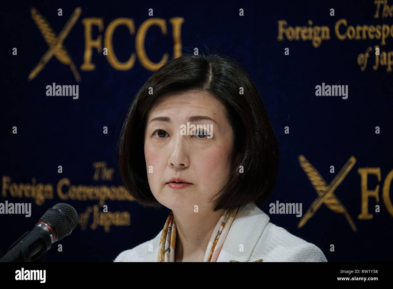 Otsuka Kagu president Kumiko Otsuka answers questions during a press conference at Foreign Press Club on March 04, 2019 in Tokyo Japan. Seeking for expension in Chinese market Kumiko Otsuka talks about an alliance with China's company called High-Lines. March 04, 2019 Credit: Nicolas Datiche/AFLO/Alamy Live News Stock Photo