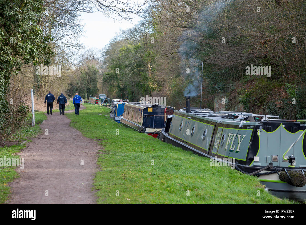 Kidderminster, UK. 4th March, 2019. after a landslip on the Staffordshire and Worcestershire Canal this weekend in Kidderminster, canal boats moor-up, most of their occupants on holiday hoping to travel the canal, patiently waiting for the Canal and River Trust to remove a mass of earth and debris from the water. Currently the canal is impassable, but Canal Trust workers are already working to remove the debris. Credit: Lee Hudson/Alamy Live News Stock Photo