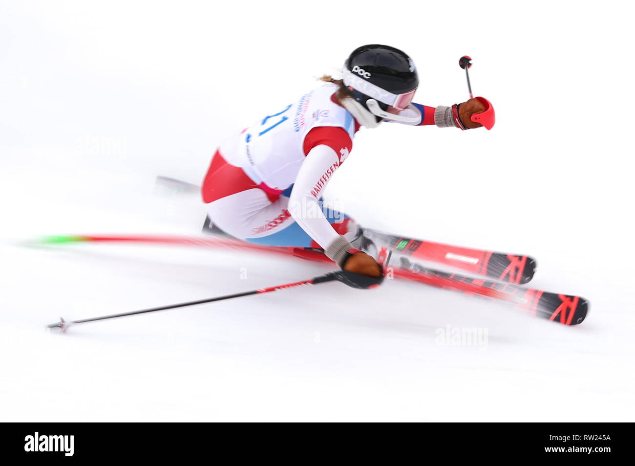 Krasnoyarsk, Russia. 04th Mar, 2019. KRASNOYARSK, RUSSIA - MARCH 4, 2019: Skier Anne-Sophie Loretan of Switzerland competes in the ladies' Alpine combined slalom event at Bobrovy Log Funpark as part of the 2019 Winter Universiade. Mikhail Tereshchenko/TASS Credit: ITAR-TASS News Agency/Alamy Live News - Stock Image