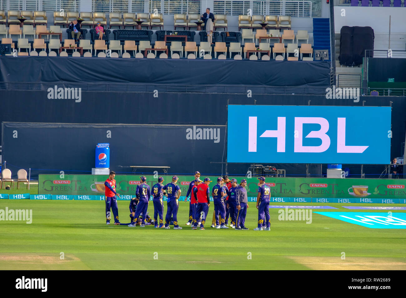 Abu Dhabi, UAE. 4th Mar 2019.  Pakistan Super League 2019/ First ever PSL 2019 Cricket matches are being held in Sheikh Zayed Cricket Stadium Abu Dhabi. Credit: Fahd Khan / Live News Alamy - Stock Image