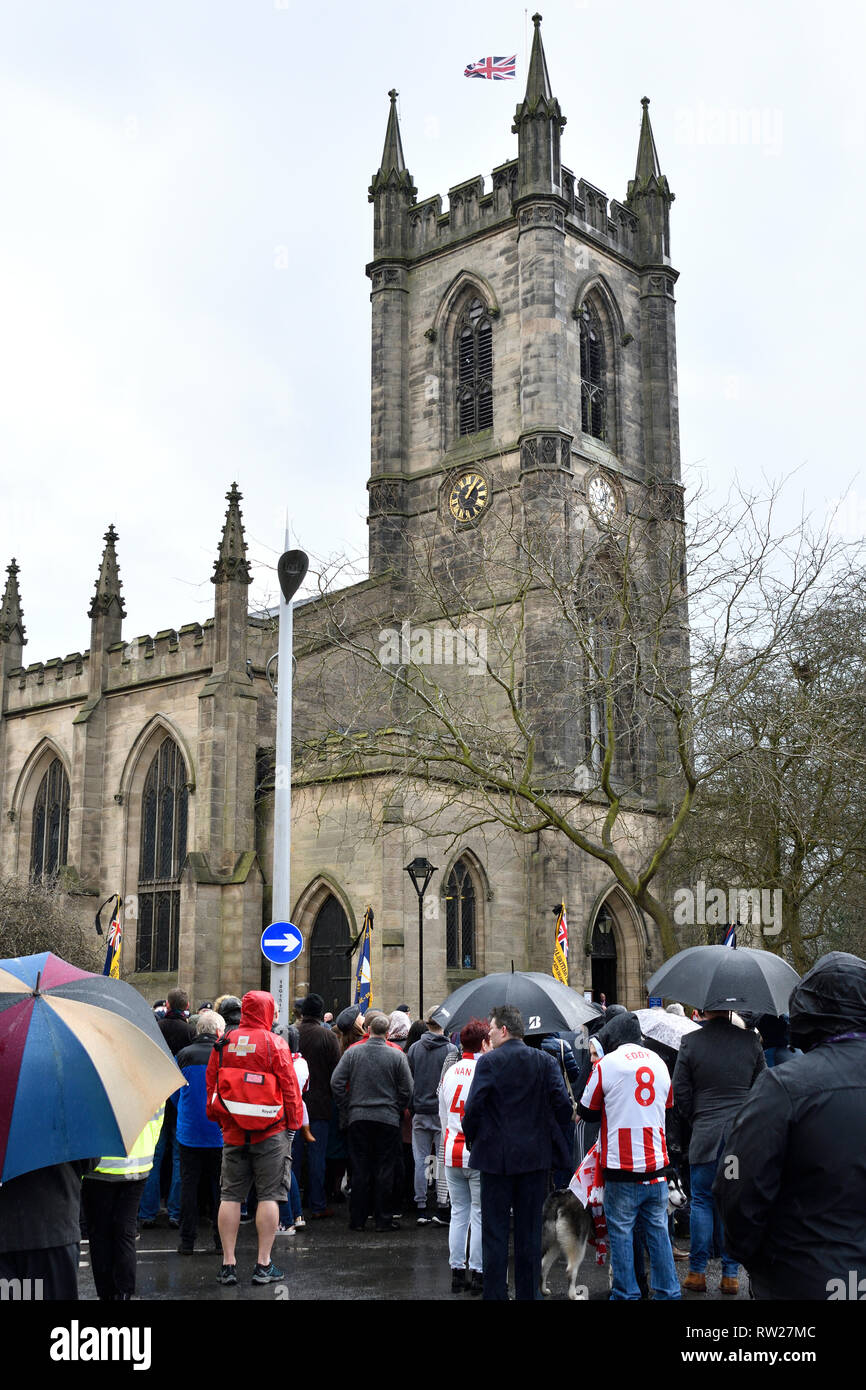 Stoke-on-Trent, Staffordshire, UK. 4th Mar 2019. Gordon Banks funeral in Stoke-on-Trent Credit: JONATHAN AYRES/Alamy Live News - Stock Image