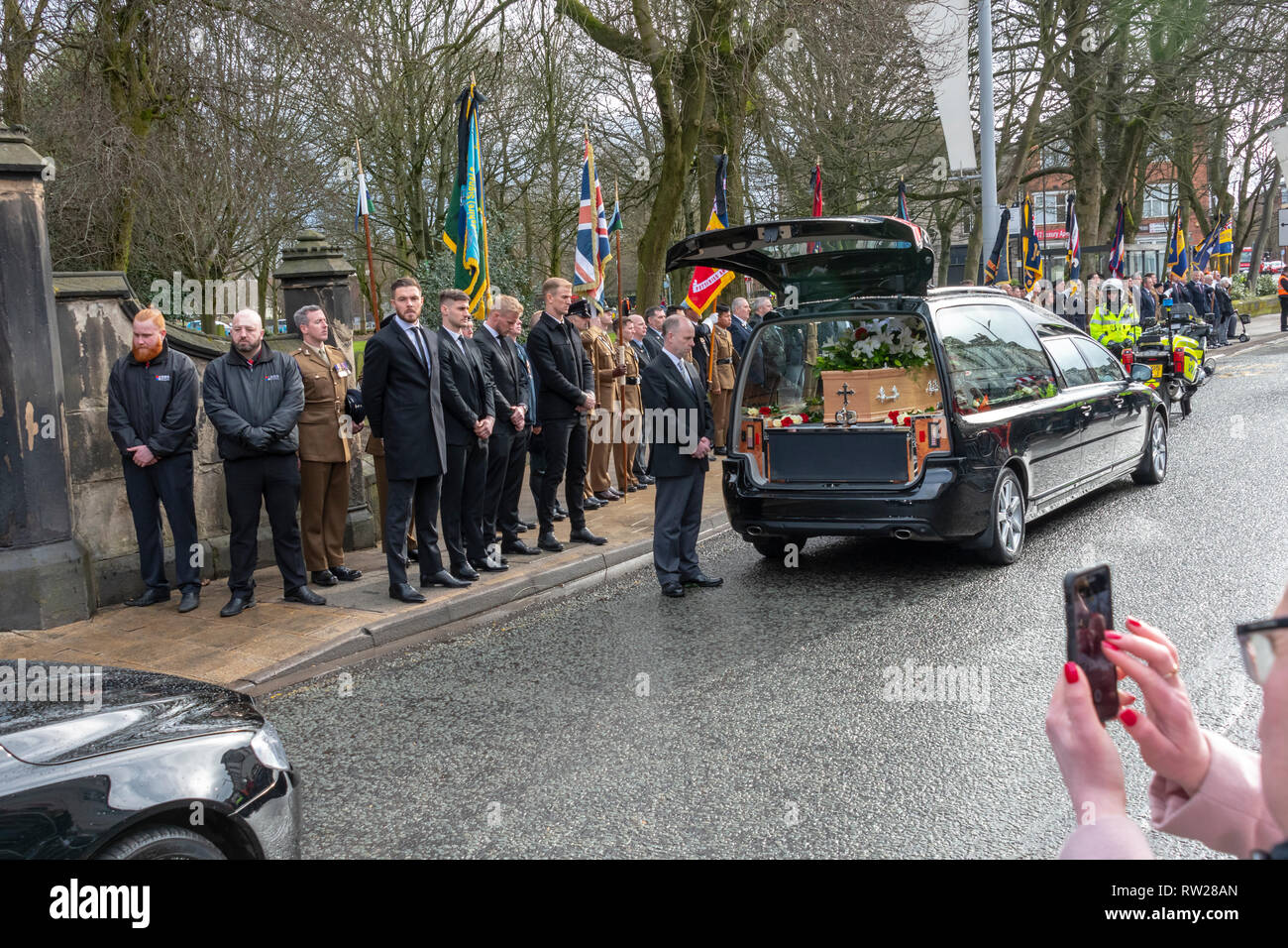 Stoke-on-Trent, Staffordshire, UK. 4th Mar 2019. Photos from the funeral service of England and Stoke City footballing legend Gordon Banks outside Stoke Minster in Stoke-on-Trent Credit: JONATHAN AYRES/Alamy Live News Stock Photo