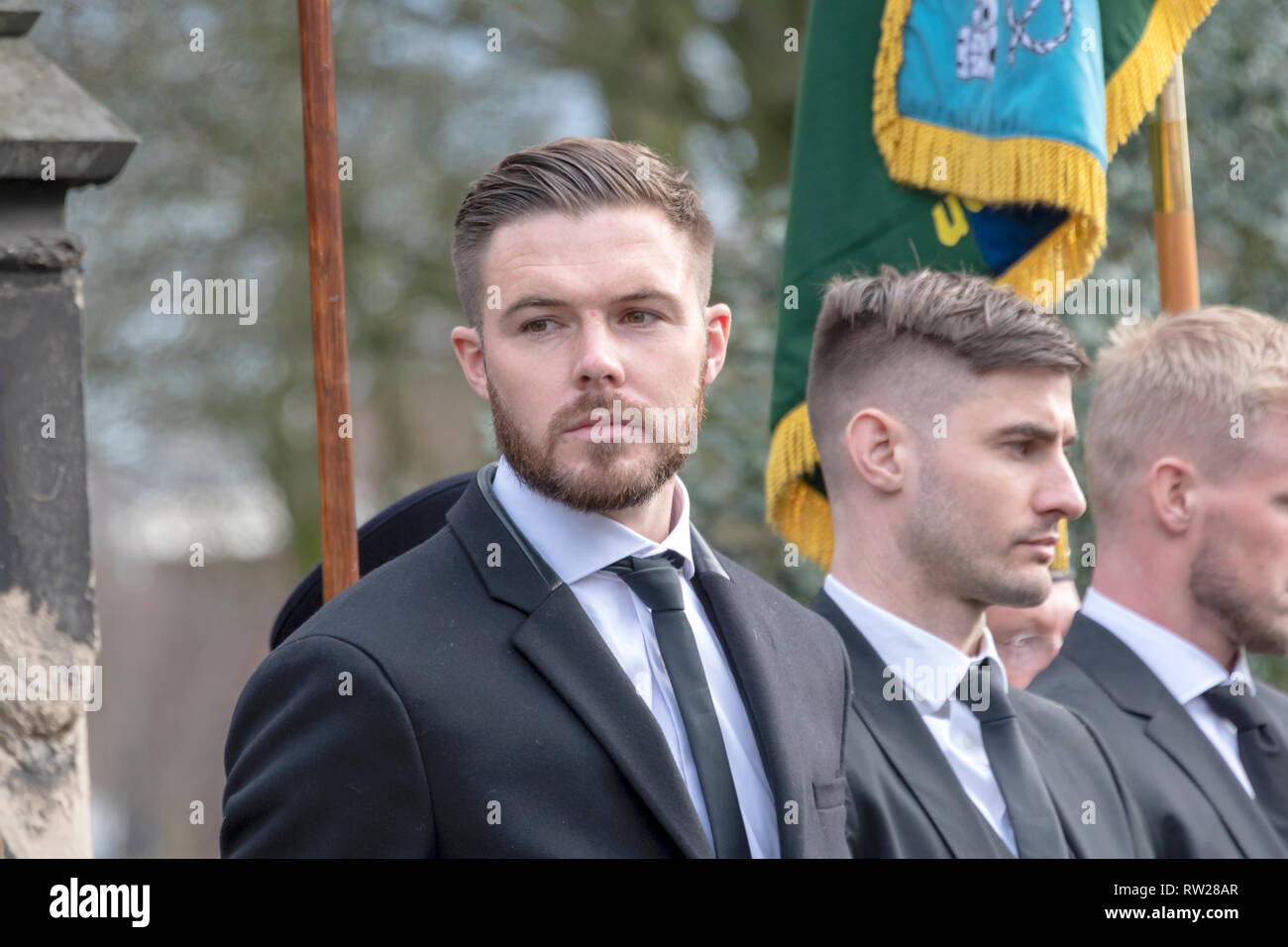 Stoke-on-Trent, Staffordshire, UK. 4th Mar 2019. Photos from the funeral service of England and Stoke City footballing legend Gordon Banks outside Stoke Minster in Stoke-on-Trent Credit: JONATHAN AYRES/Alamy Live News - Stock Image
