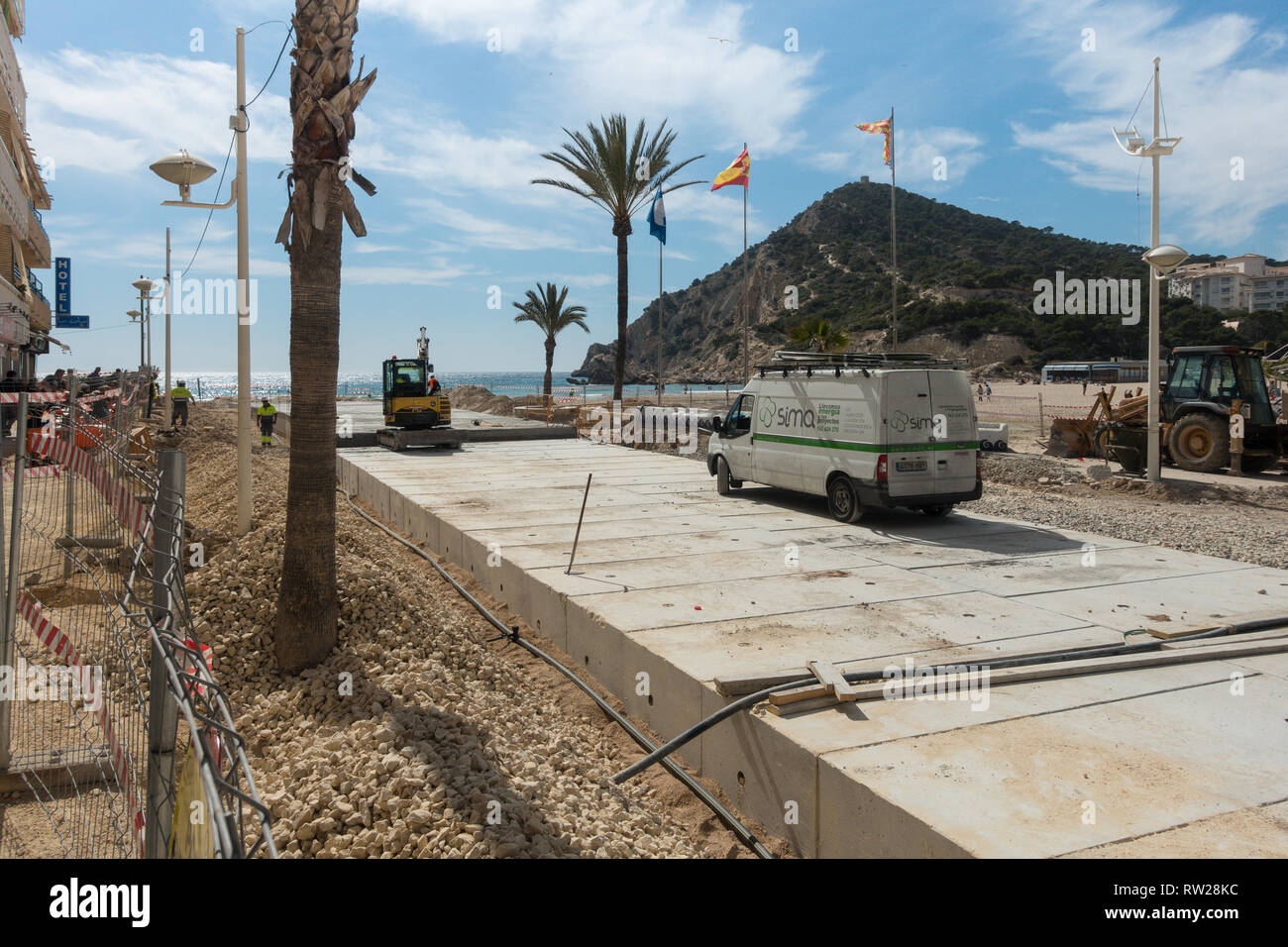 Marina Baixa Avenida, La Cala de Finestrat, Benidorm, Spain, 04 March 2019. Construction of a large double culvert below ground to take flood waters from the route of the old riverbed is nearly complete. The ravine had previously been paved over and the resulting floodwater ran down the road above ground resulting in 3 deaths in recent years. In 2017 a man was filmed being swept to his death here. Credit: Mick Flynn/Alamy Live News Stock Photo