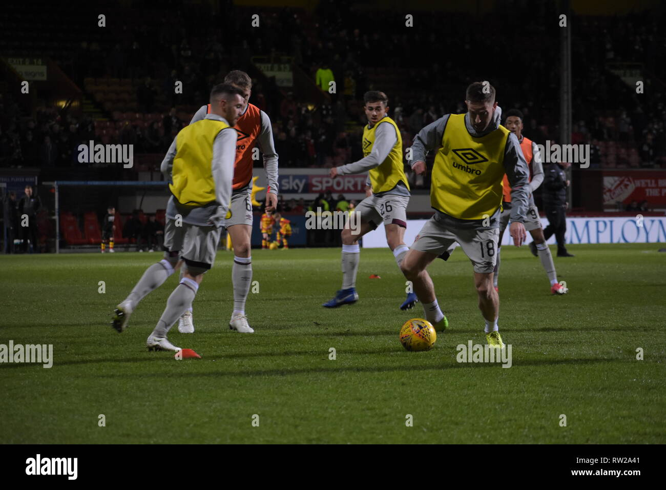 firhill, Maryhill, Glasgow, Scotland 4th march 2019 Hearts players warm up for the Scottish cup match against partick thistle - Stock Image