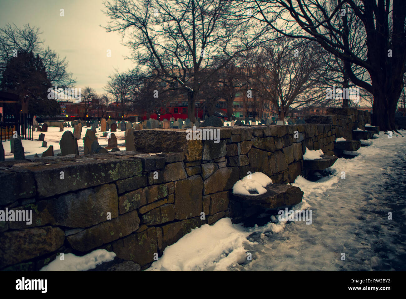 The Burying Point Cemetery, also known as Charter Street Cemetery, dates back to at least 1637. A resting place for many historical people, Richard Mo - Stock Image