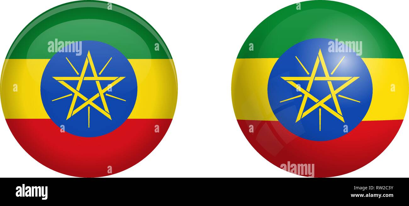 Ethiopia flag under 3d dome button and on glossy sphere / ball. - Stock Vector