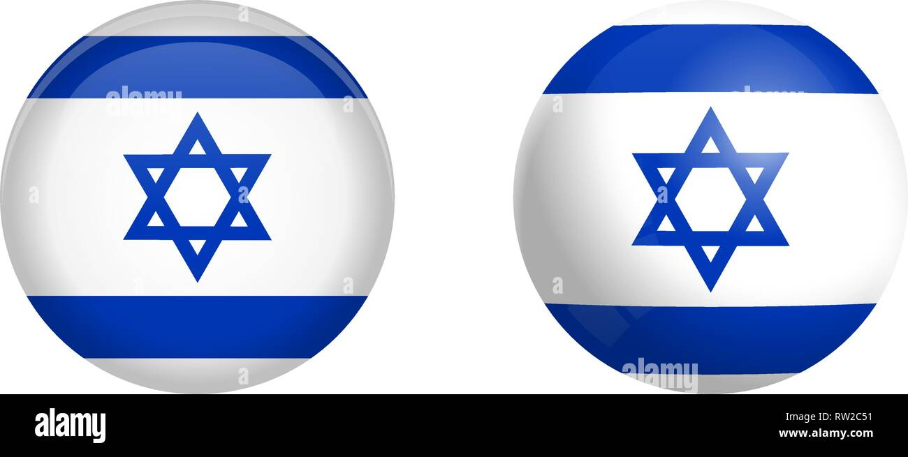 Israel flag under 3d dome button and on glossy sphere / ball. - Stock Vector