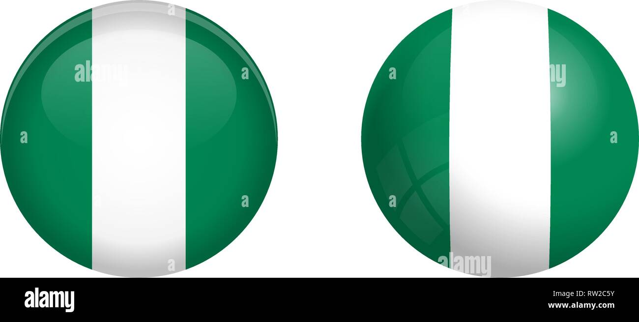 Nigeria flag under 3d dome button and on glossy sphere / ball. - Stock Vector