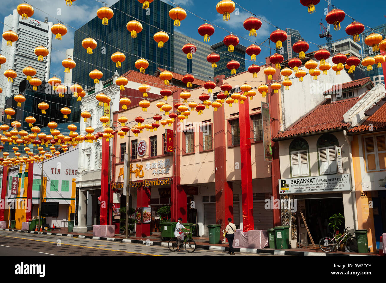 11.02.2019, Singapore, Republic of Singapore, Asia - Annual street decoration with lanterns along South Bridge Road in Chinatown. - Stock Image