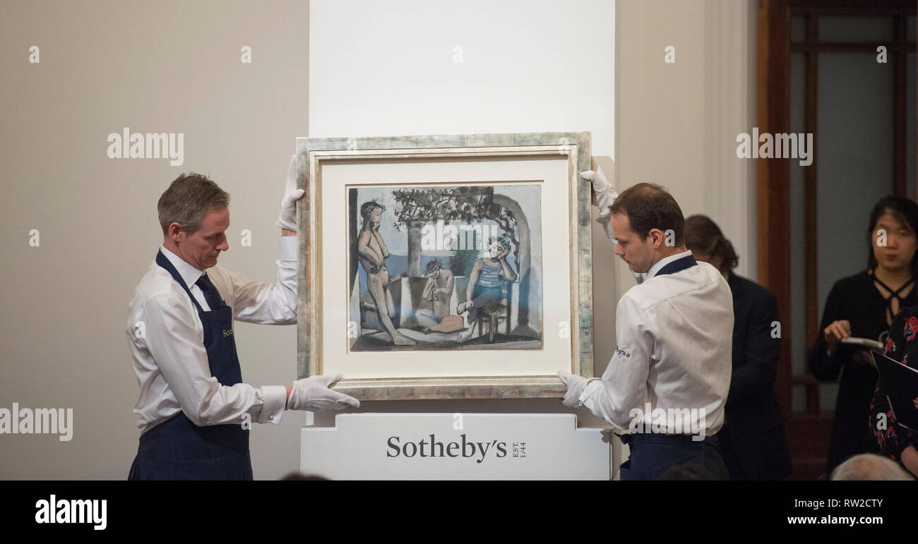 Sotheby's, New Bond Street, London, 26 February 2019. Impressionist, Modern and Surrealist Art evening sale. Pablo Picasso sells for £2,110,000. - Stock Image