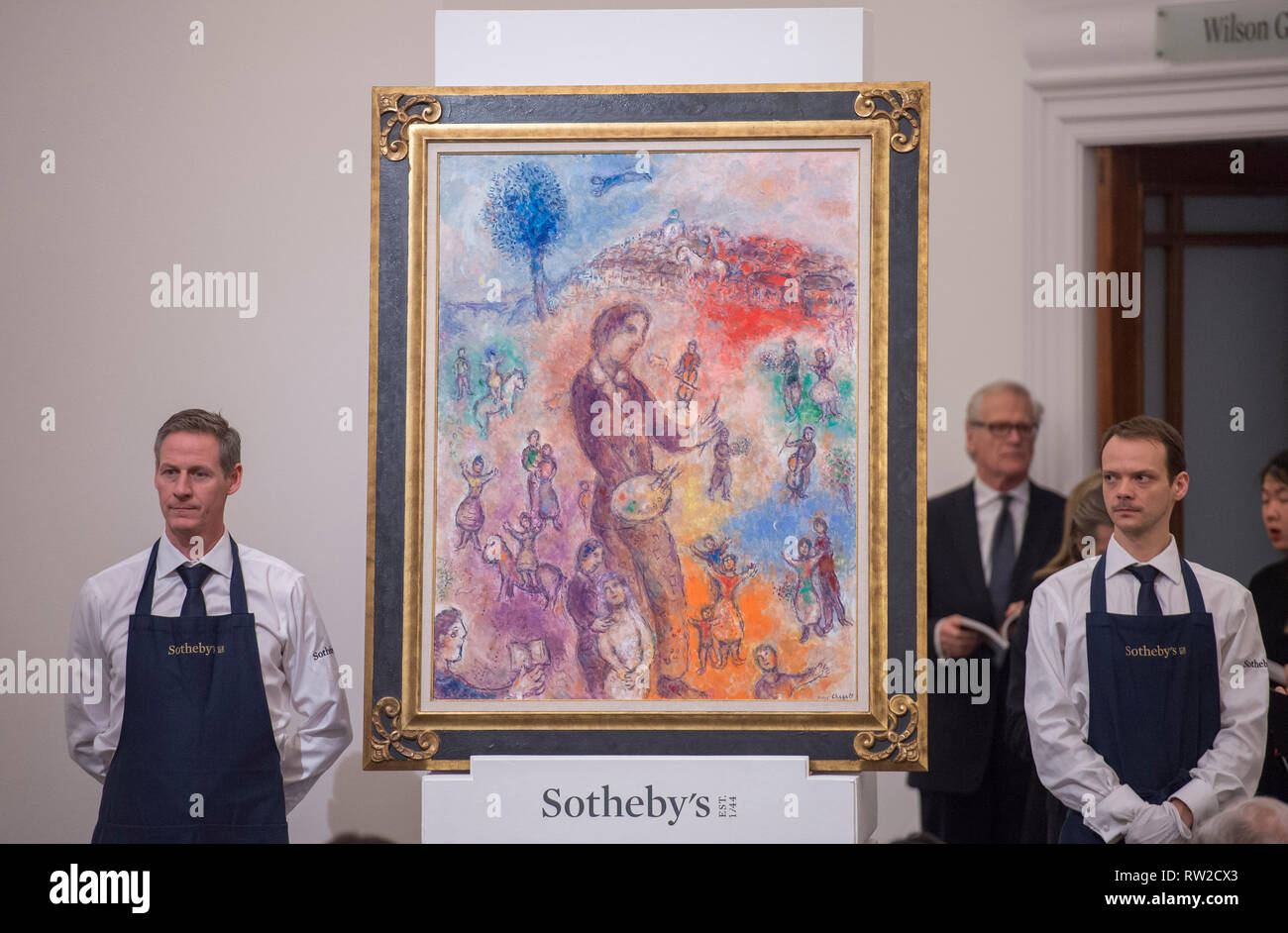Sotheby's, New Bond Street, London, 26 February 2019. Impressionist, Modern and Surrealist Art evening sale. Marc Chagall sells for £1,755,000. - Stock Image