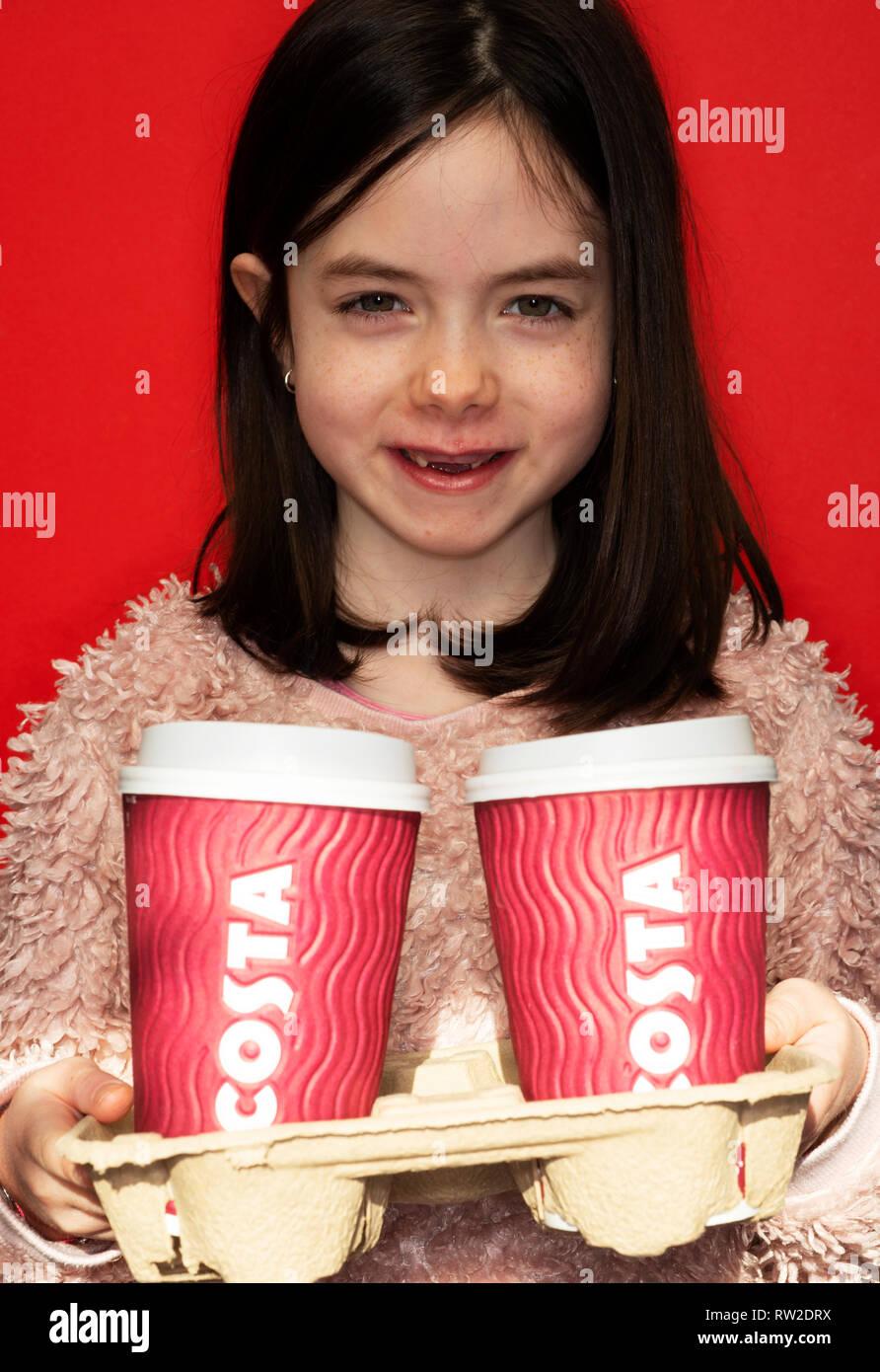 Take away Costa coffee - Stock Image
