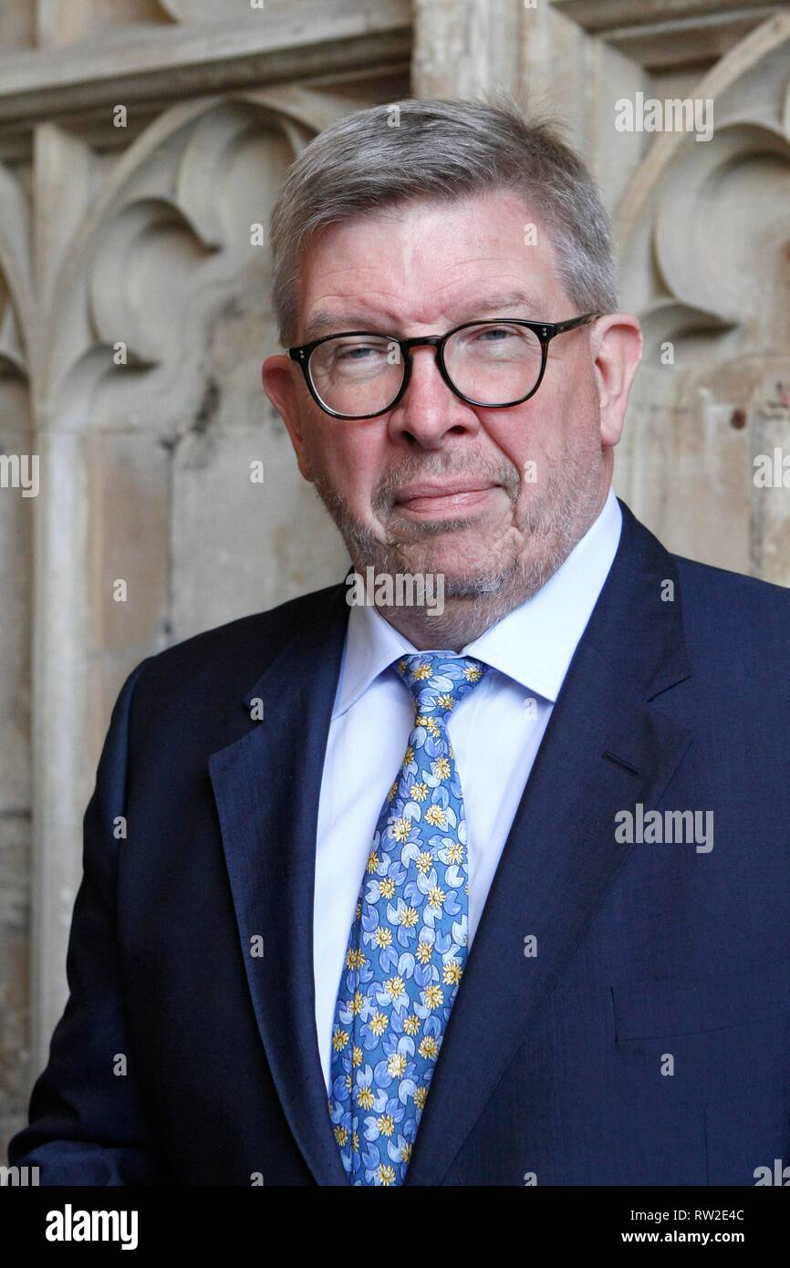 Ross Brawn OBE,  Formula One Managing Director of Motorsports and technical director. The memorial service at Gloucester Cathedral for Christine Mills - Stock Image