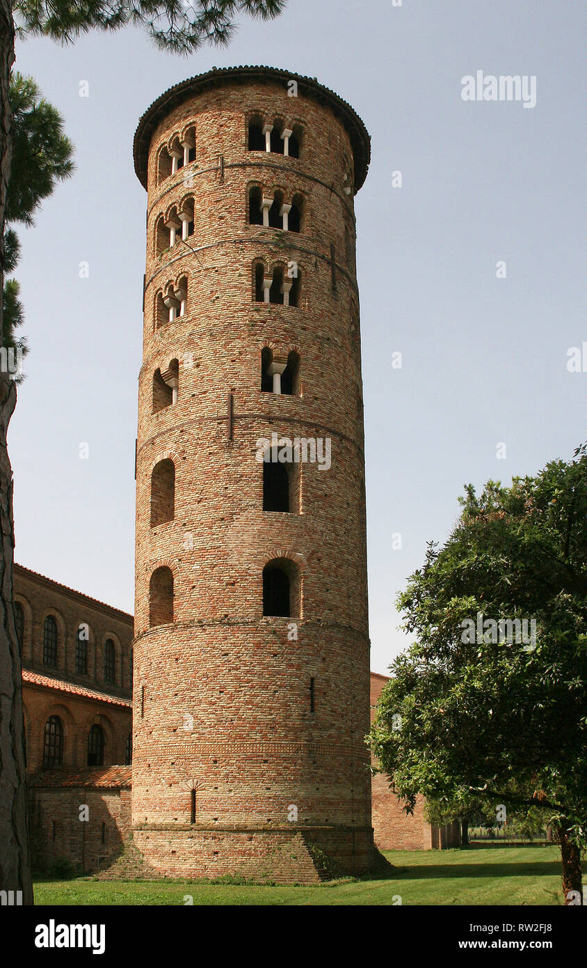 Italy. Ravenna. Basilica of Sant'Apollinare in Classe. Byzantine style. 6th CE. view of Belltower, 9th CE. - Stock Image