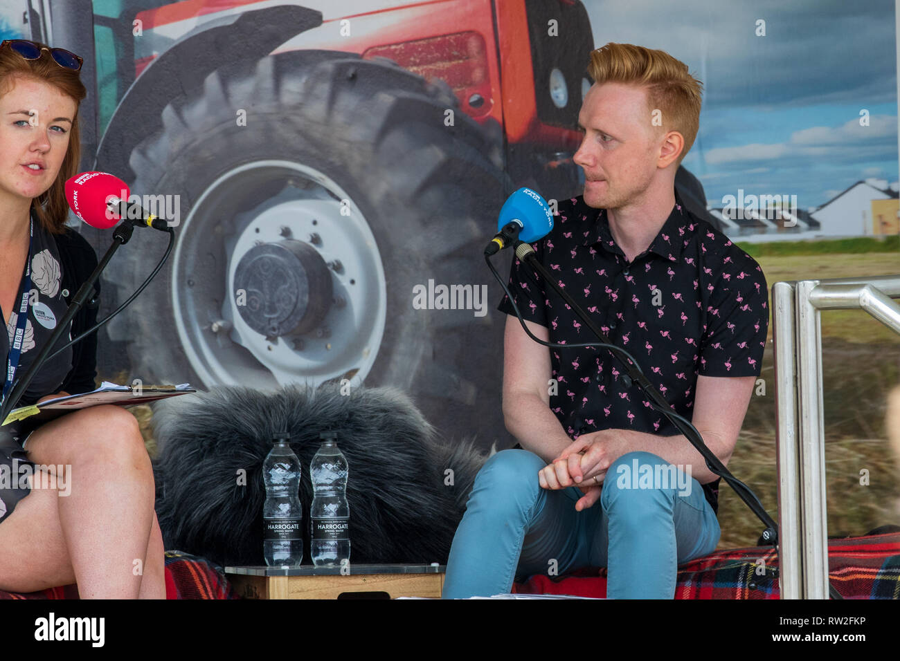 Harrogate, North Yorkshire, UK - July 12th, 2018: BBC Look North weather presenter Owain Wyn Evans at the Great Yorkshire Show on 12th July 2018 at Ha - Stock Image