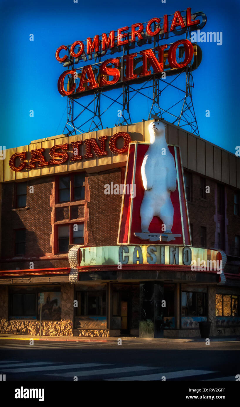 A post card style The Commercial Casio entrance in Elko Nevada - Stock Image