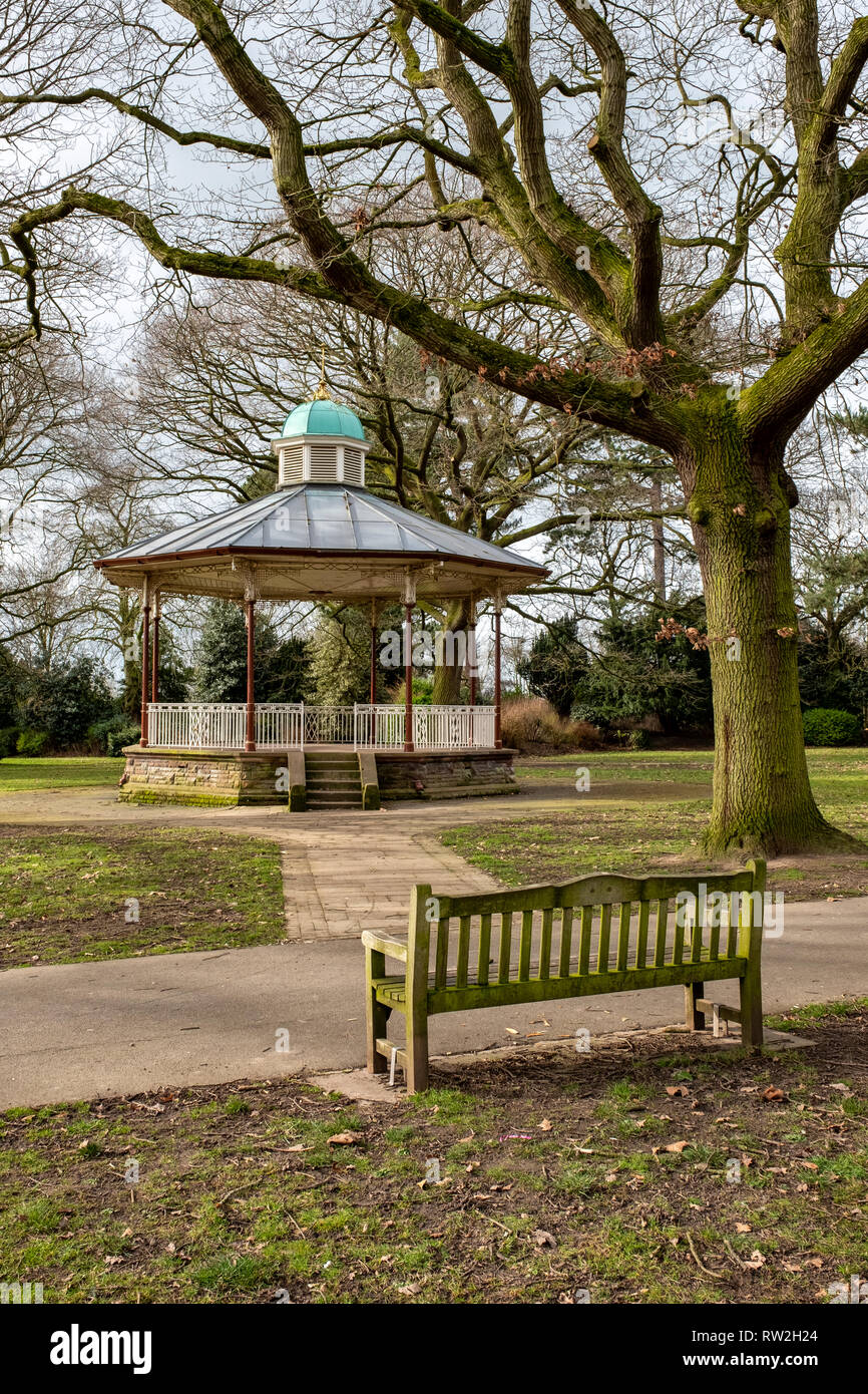 The bandstand in Queens Park, Crewe Cheshire UK - Stock Image